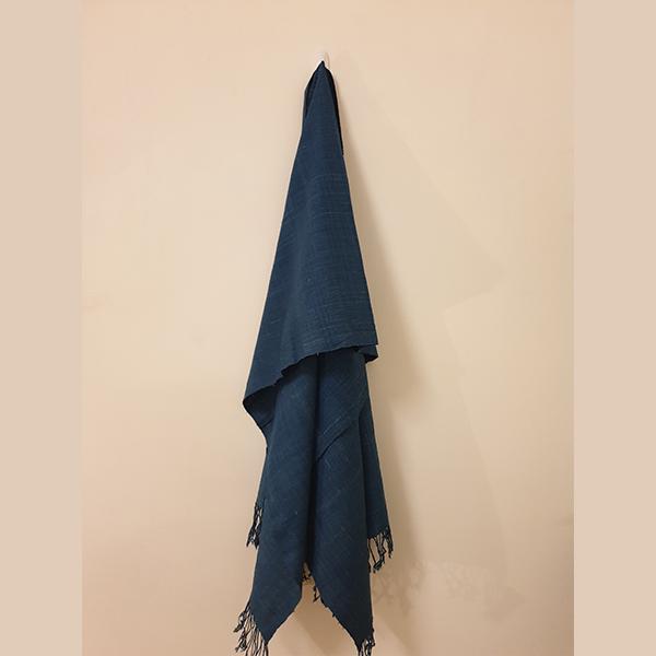 Handcrafted Indigo Eri Silk Stole