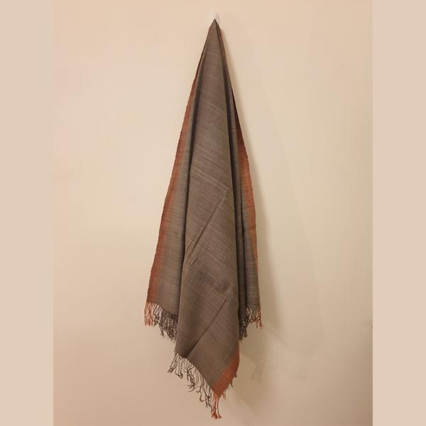Handcrafted Grey Eri Silk Stole