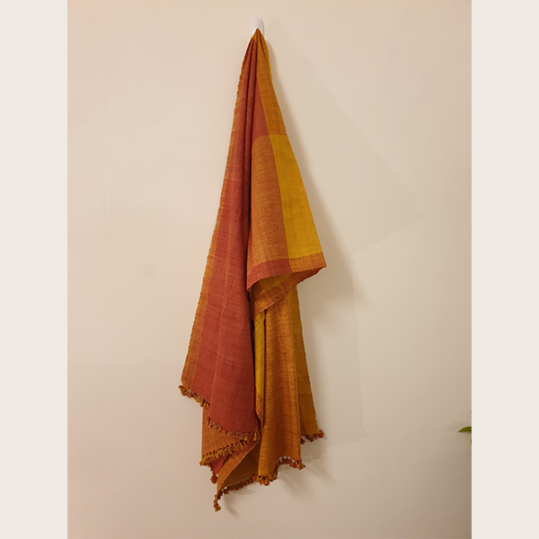 Handcrafted Turmeric with Indian Madder Eri silk stole