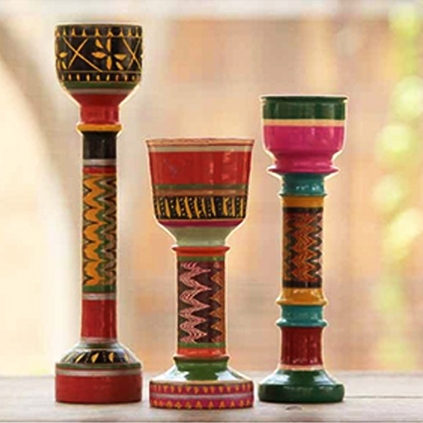 Handcrafted Lacquer Candle stand from Kutch