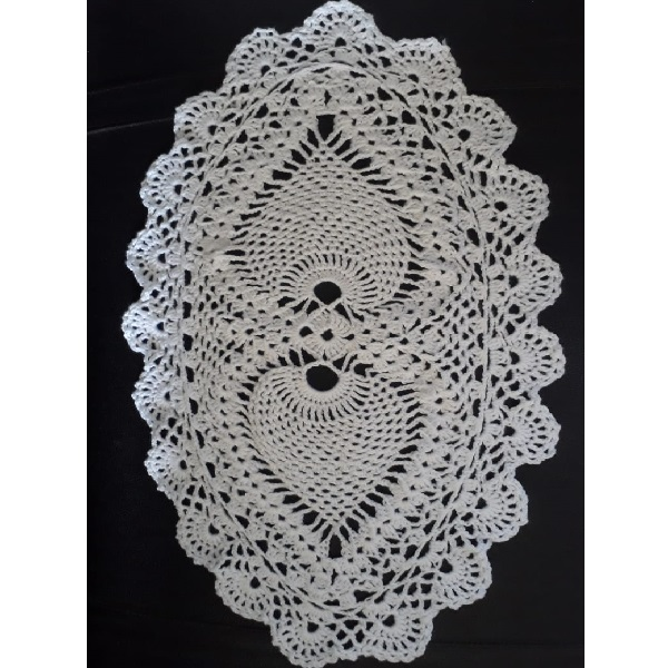 Handmade Cotton Thread Oval Doily