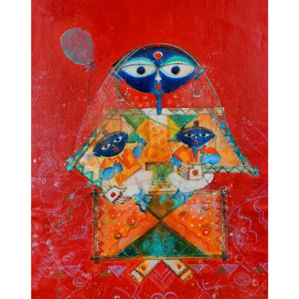 Handmade Painting of Luv, Kush and Sita Maa