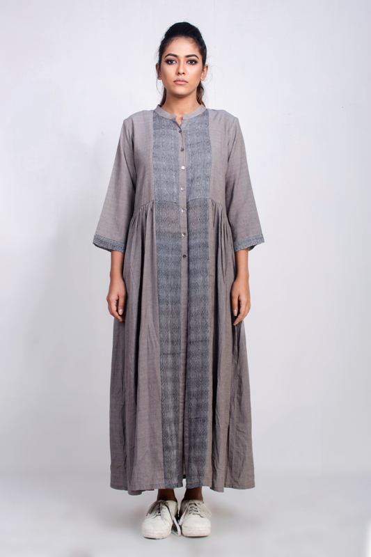 Handwoven cotton silk long dress