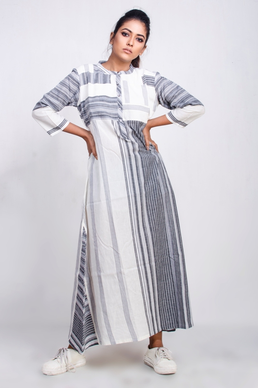 Handwoven cotton striped long dress