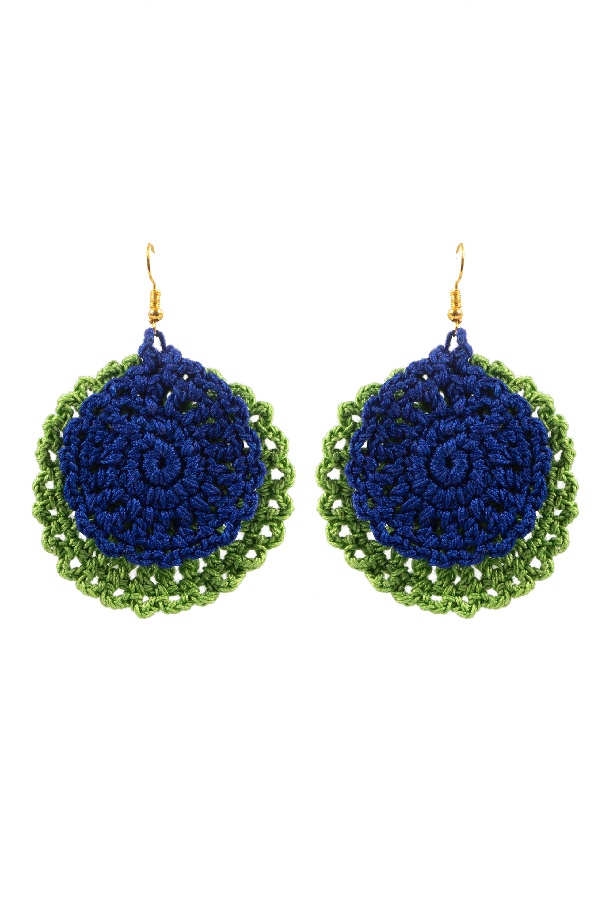 Happy Threads Crochet Earrings- Blue & Green