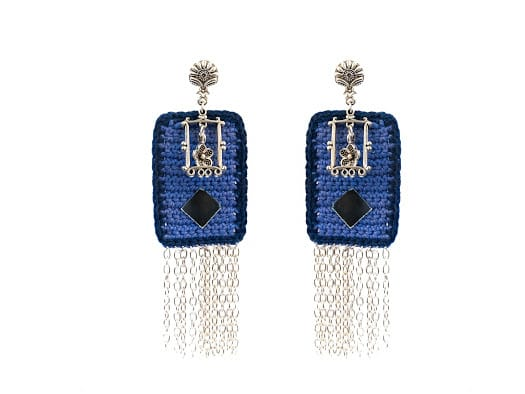Happy Threads Crochet Earrings- Blue