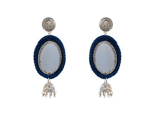 Happy Threads Crochet Earrings- Dark Blue
