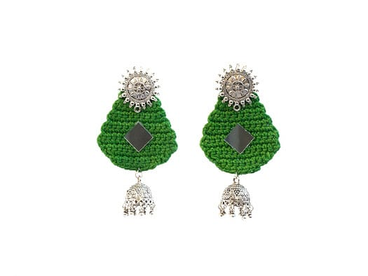 Happy Threads Crochet Earrings-Green