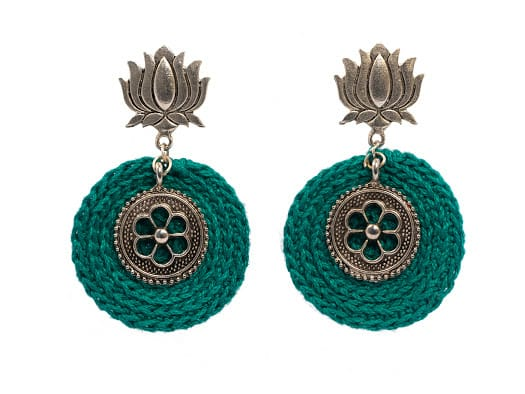 Happy Threads Crochet Earrings-Turquoise Blue