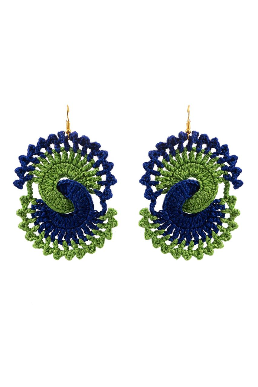 Happy Threads Crochet Peacock Earrings- Multicolour