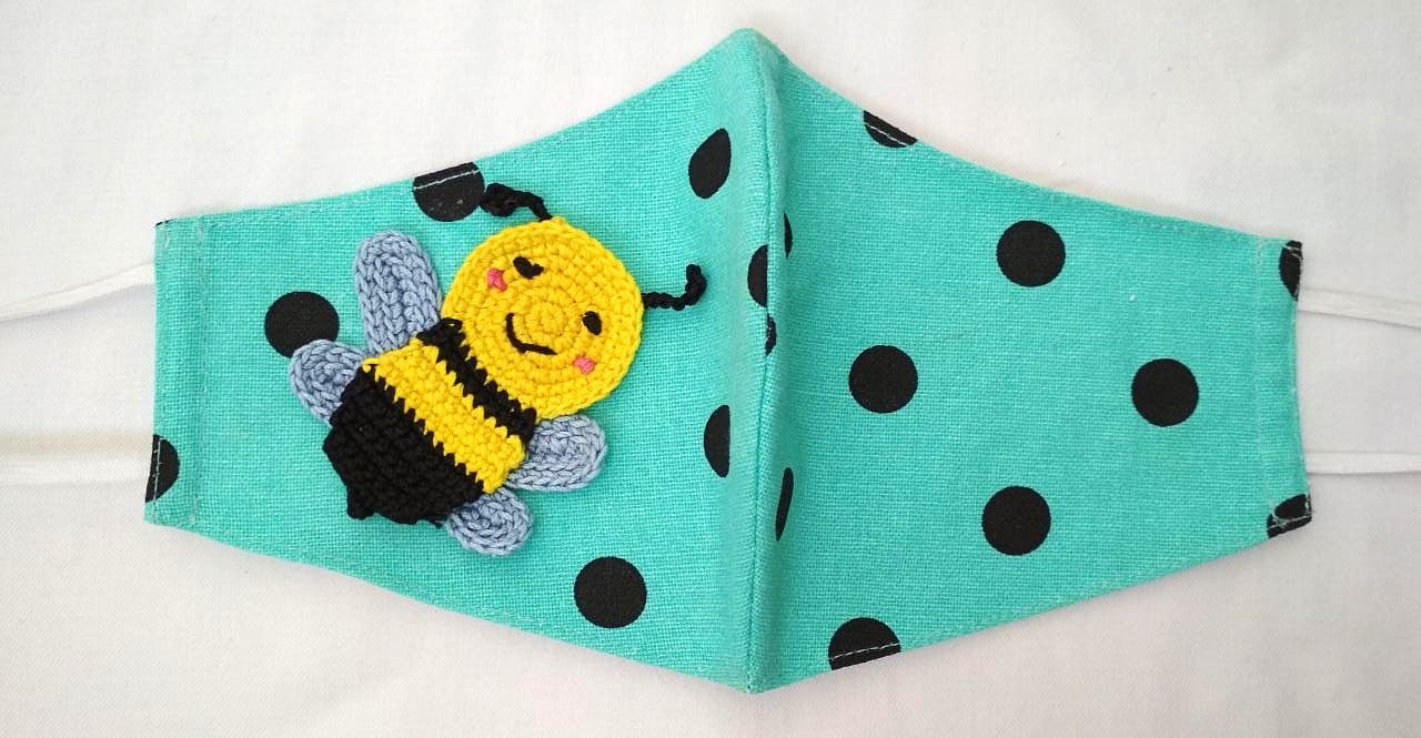 Happy Threads Handmade Cotton Masks with Honey Bee Crochet Motif