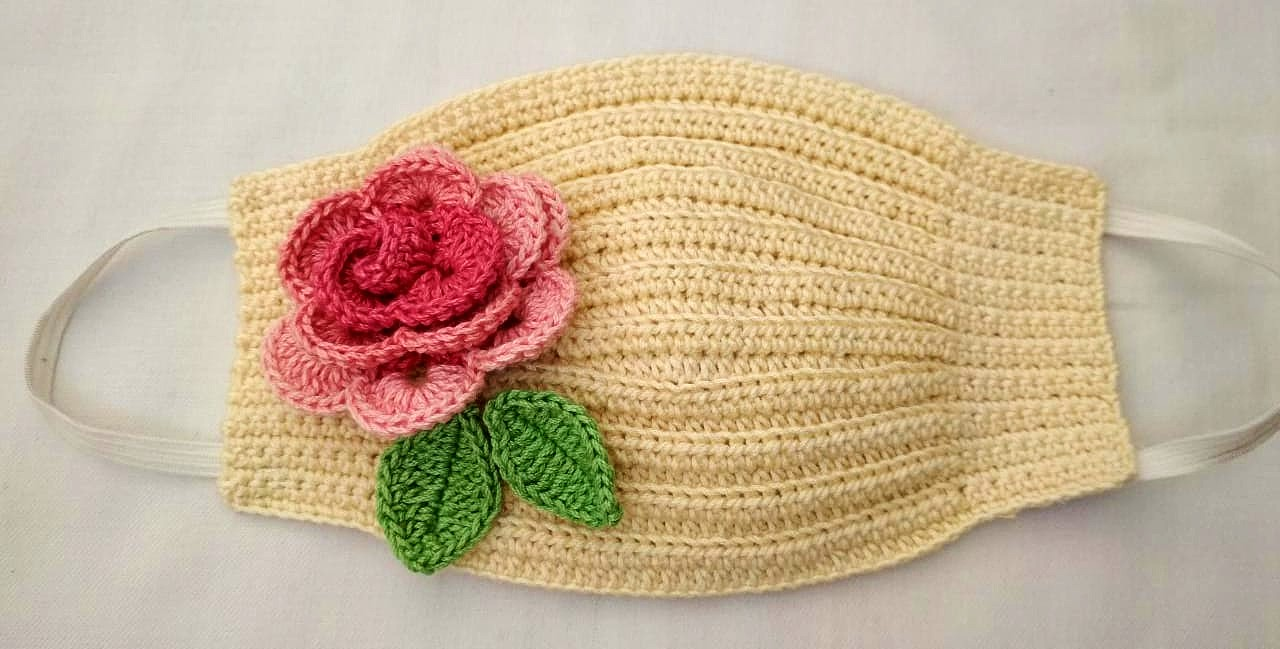 Happy Threads Handmade Crochet Cotton Masks with Floral Motifs- Cream