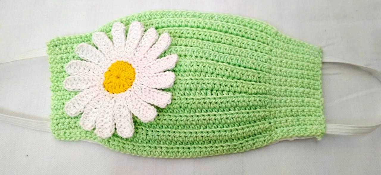 Happy Threads Handmade Crochet Cotton Masks with Floral Motifs- Green & White