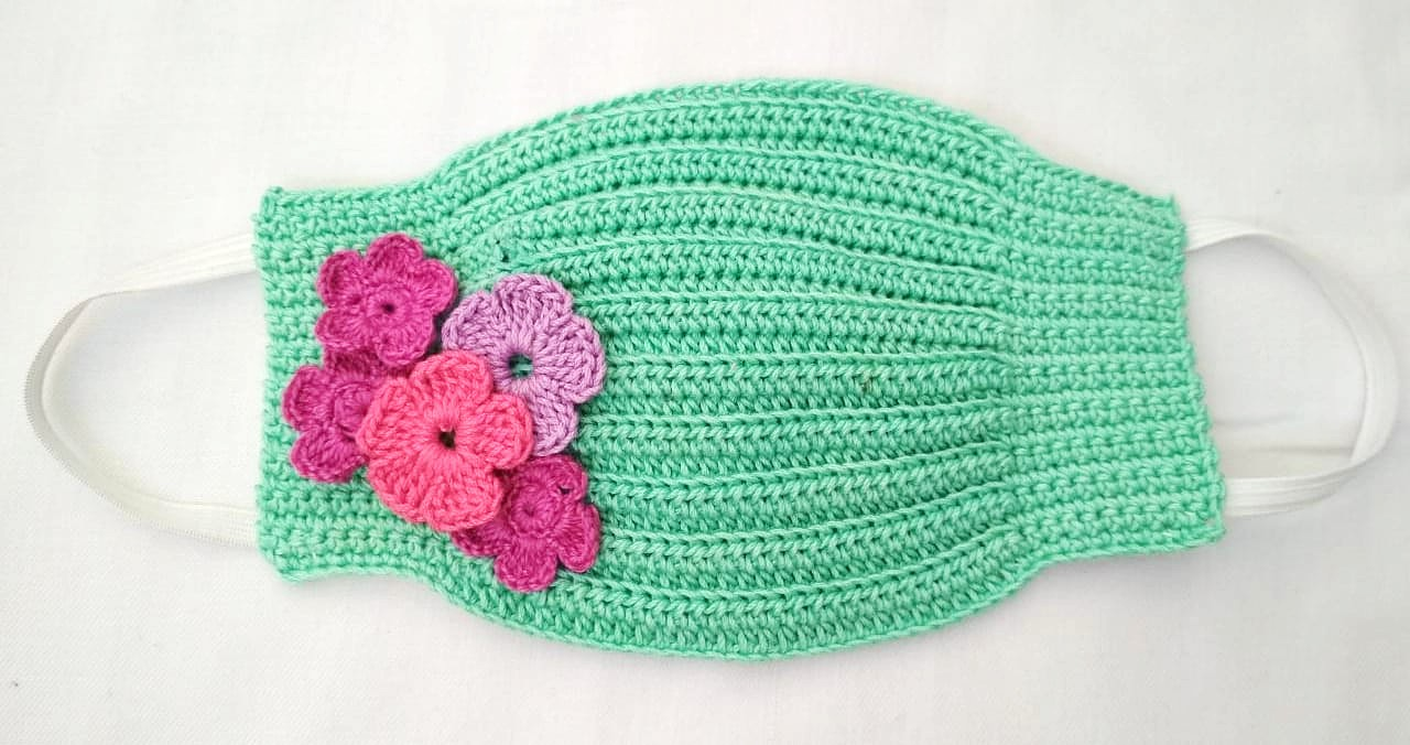 Happy Threads Handmade Crochet Cotton Masks with Floral Motifs- Green