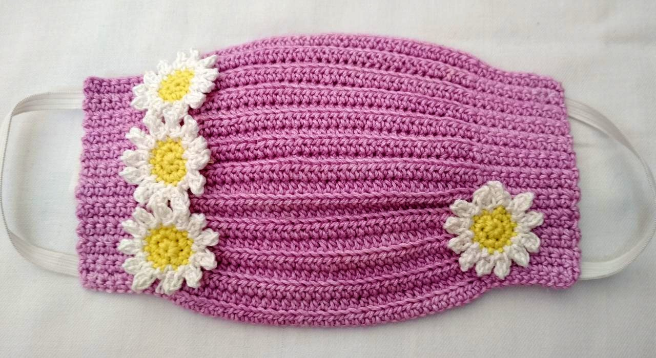 Happy Threads Handmade Crochet Cotton Masks with Floral Motifs- Purple