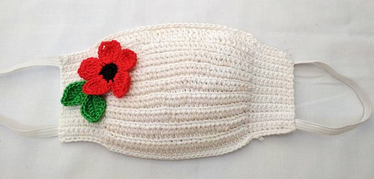 Happy Threads Handmade Crochet Cotton Masks with Floral Motifs- White & Red