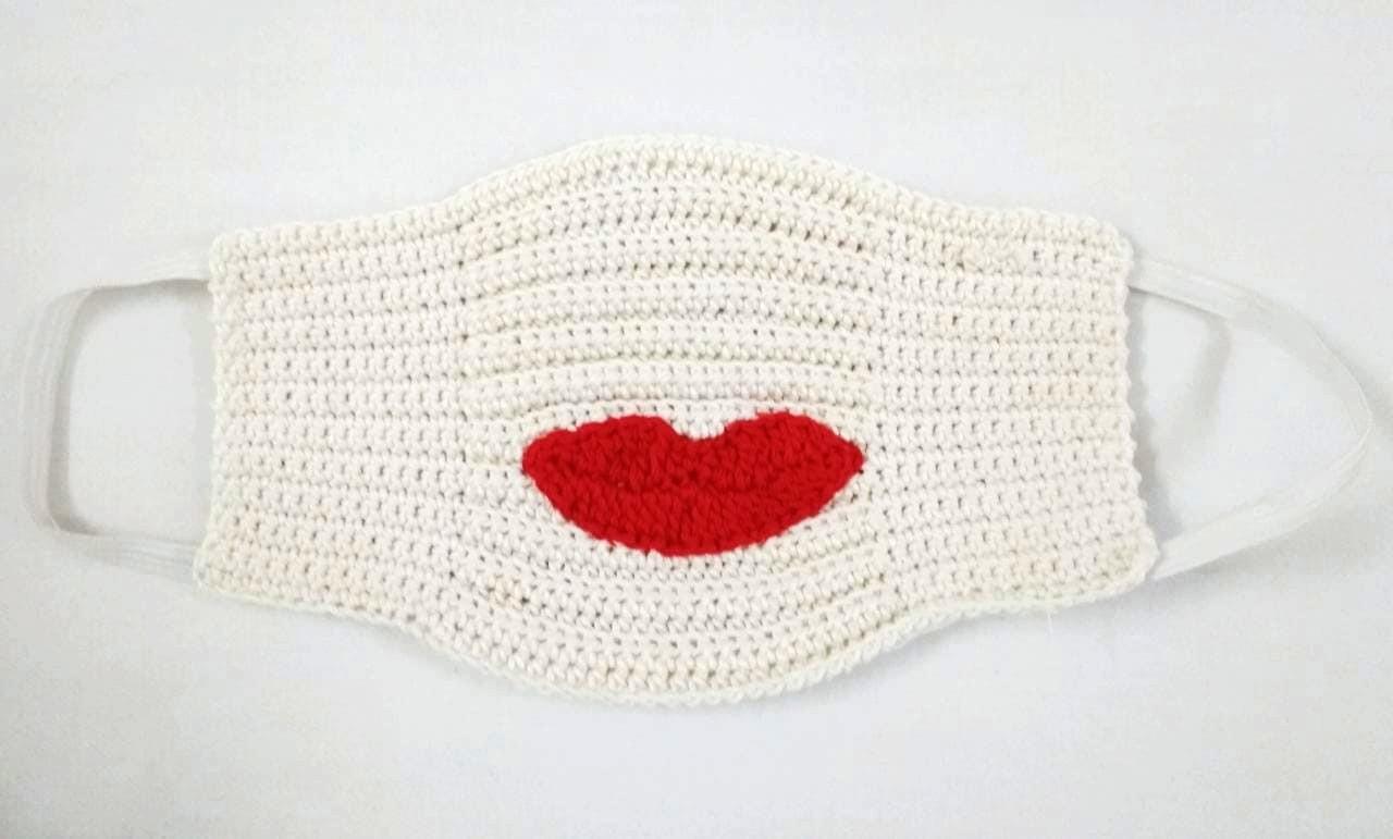 Happy Threads Handmade Kids Crochet Masks with Lips Motif