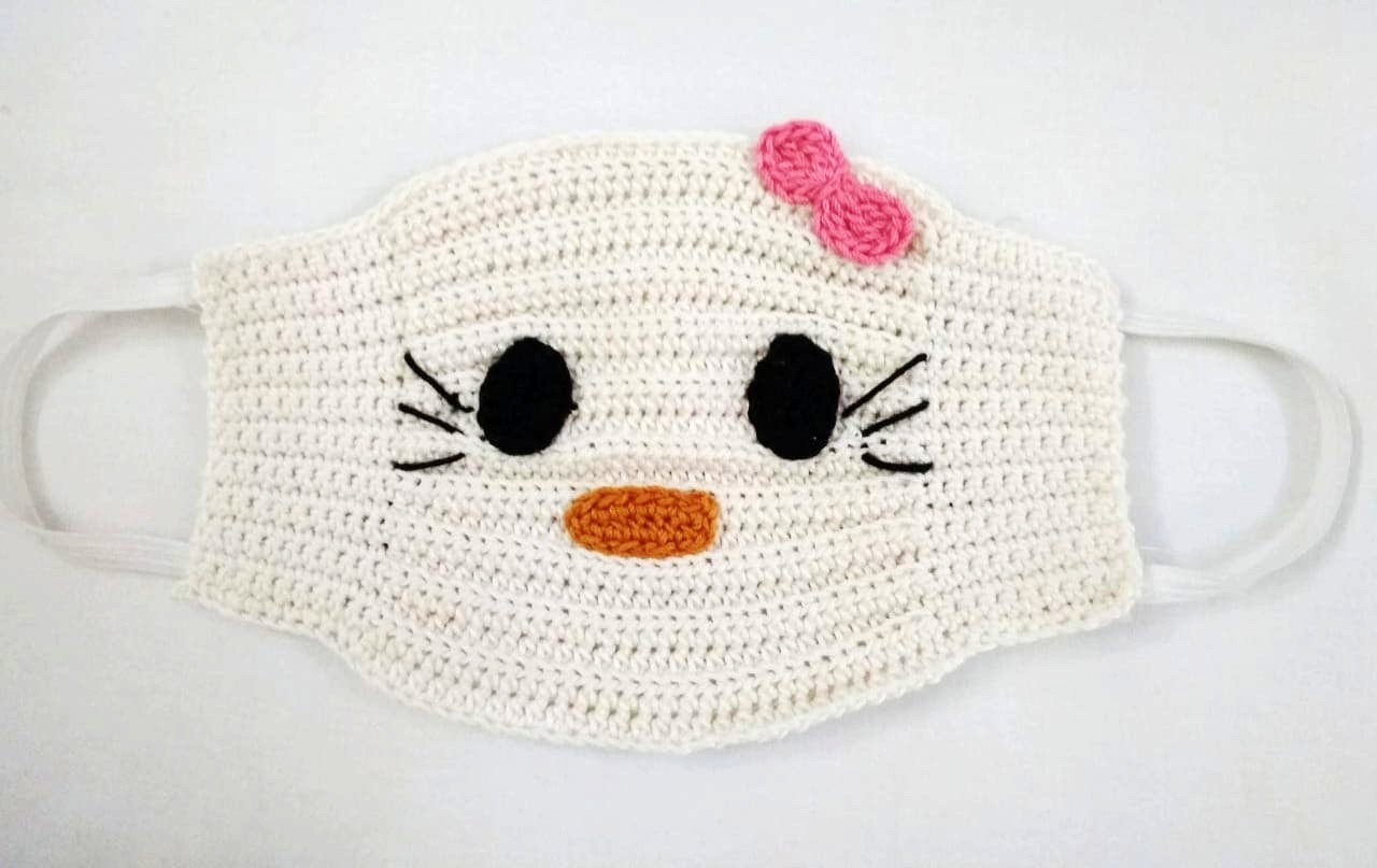 Happy Threads Handmade Kids Hello Kitty Crochet Masks