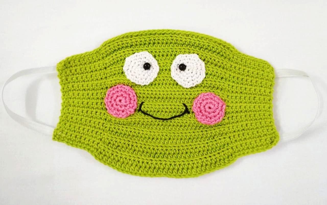 Happy Threads Kids Handmade Crochet Masks (Olive Green)