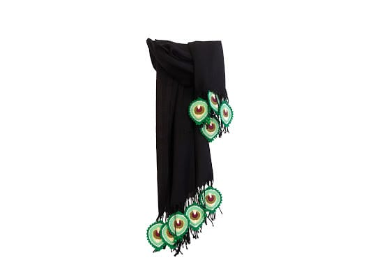 Happy Threads Trendy Stoles with Crochet Motifs (Black & Green)