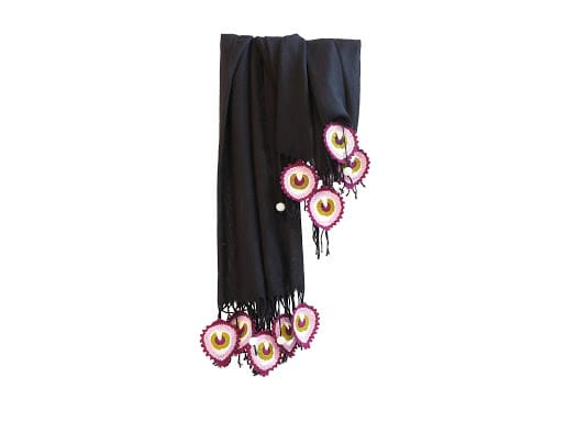 Happy Threads Trendy Stoles with Crochet Motifs (Black & Purple)