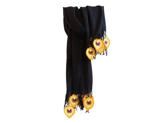 Happy Threads Trendy Stoles with Crochet Motifs (Black & Yellow)