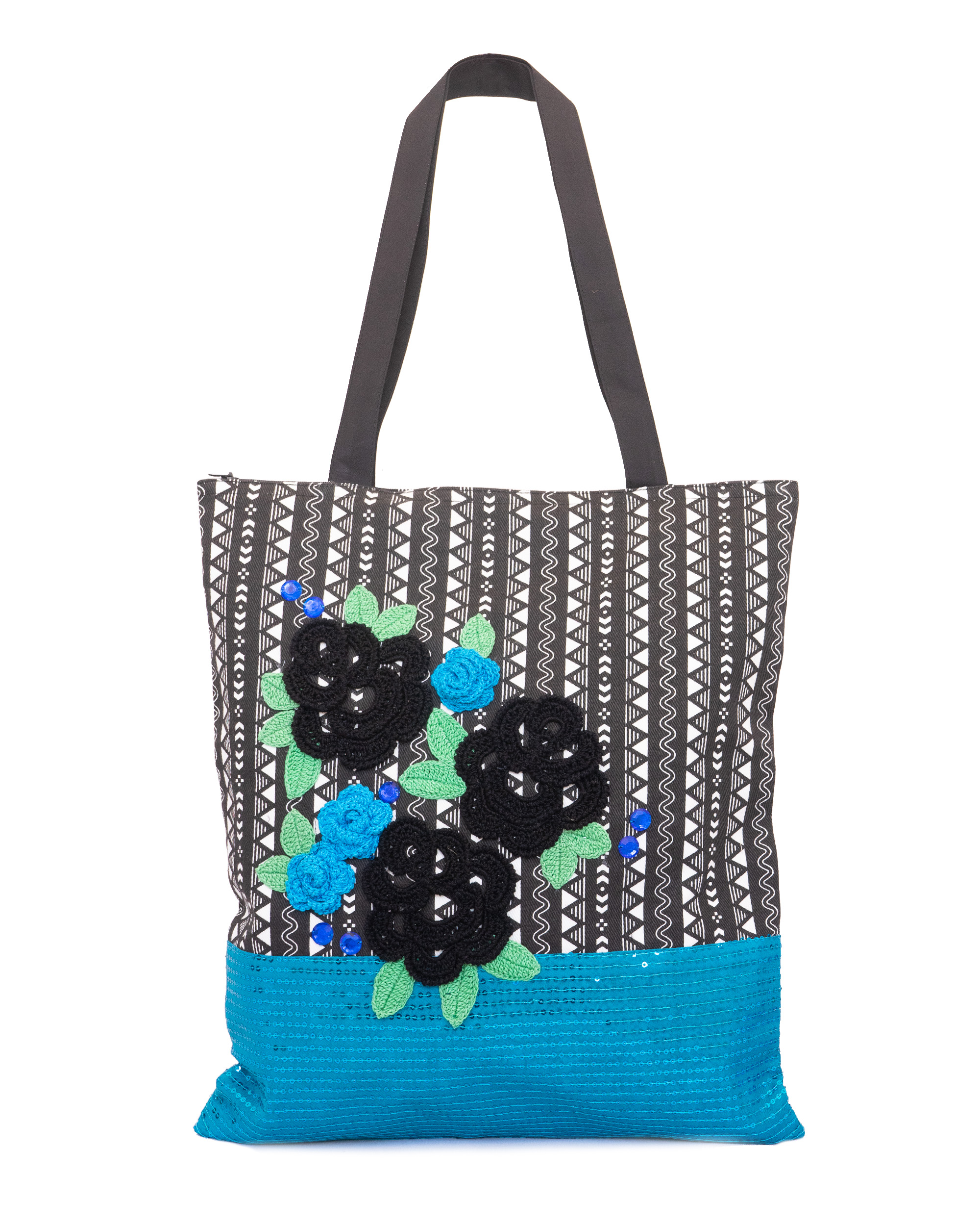 Happy Threads Women's Blingy Tote Bag (Blue)
