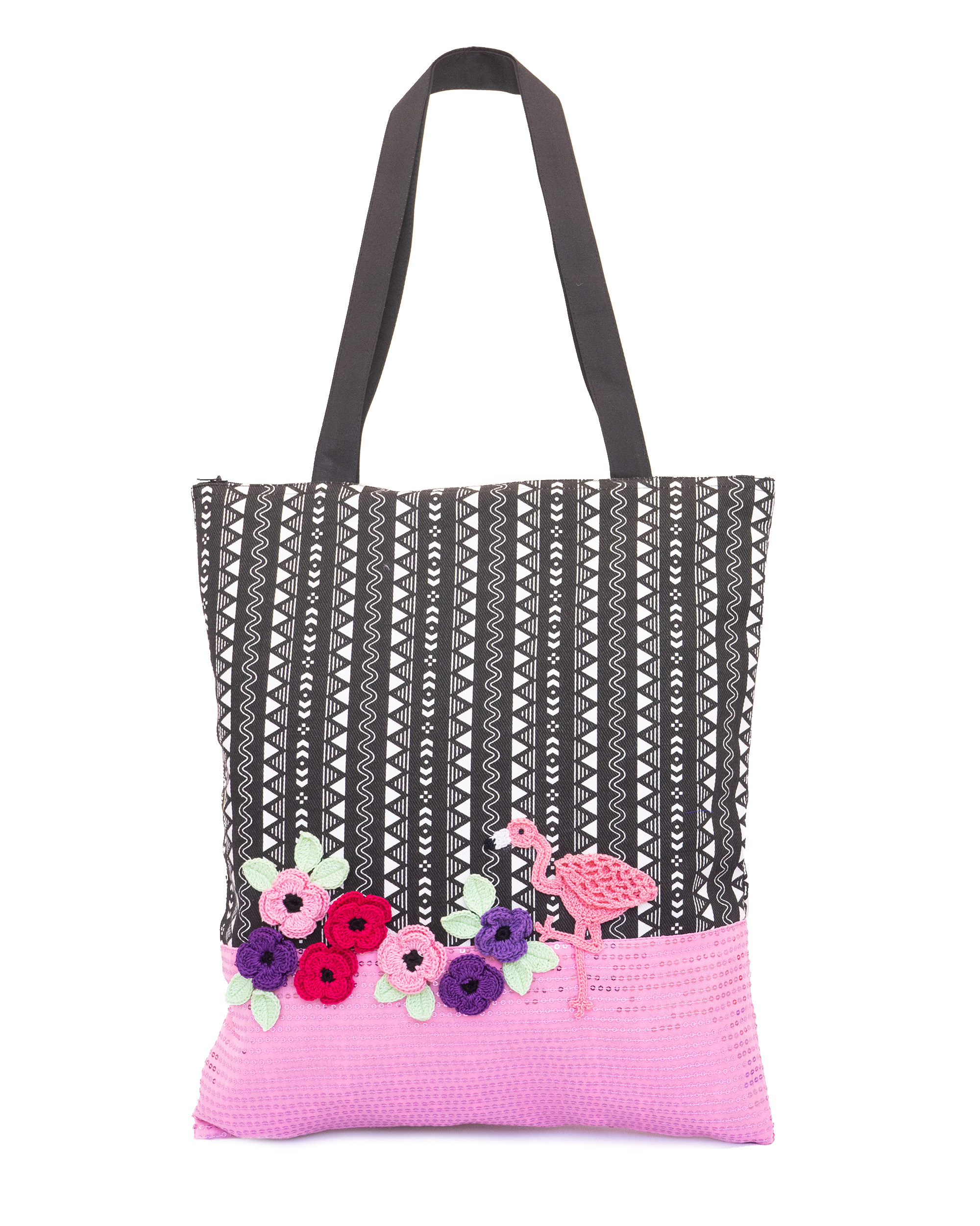 Happy Threads Women's Blingy Tote Bag(Light Pink)