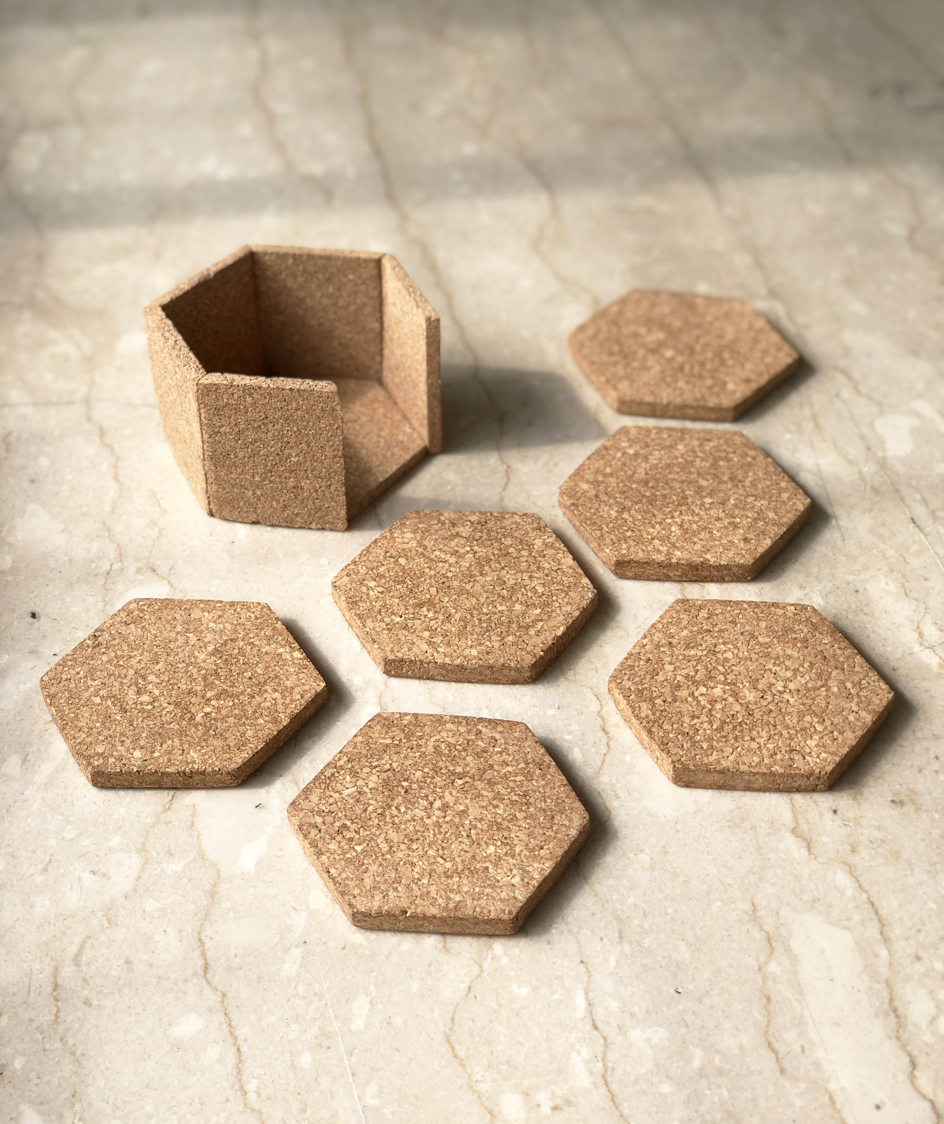 Hex Coasters with Stand (Set of 6)