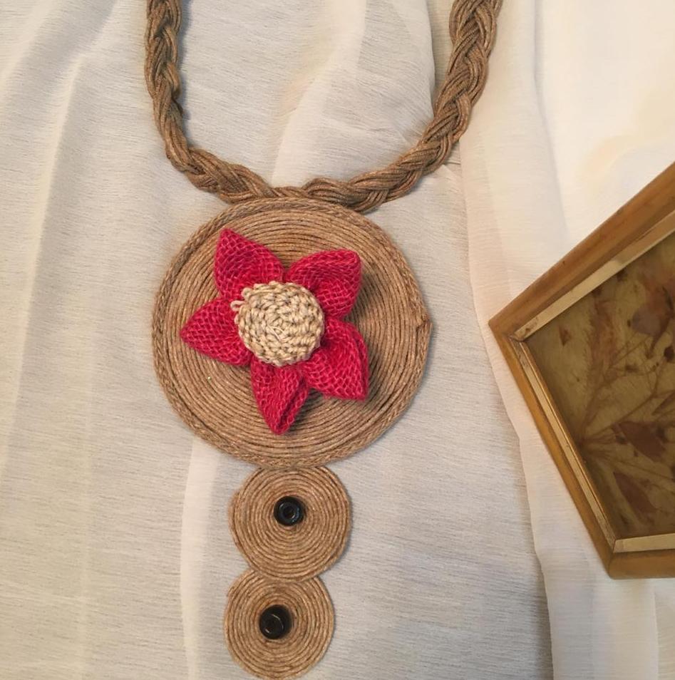 Jute Flower  Neckpiece with Braid string