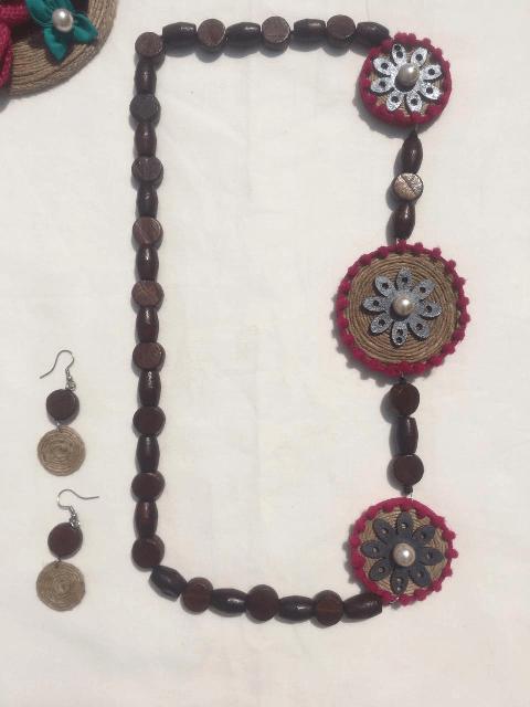 Jute Neckpiece with wooden flower with Earrings set