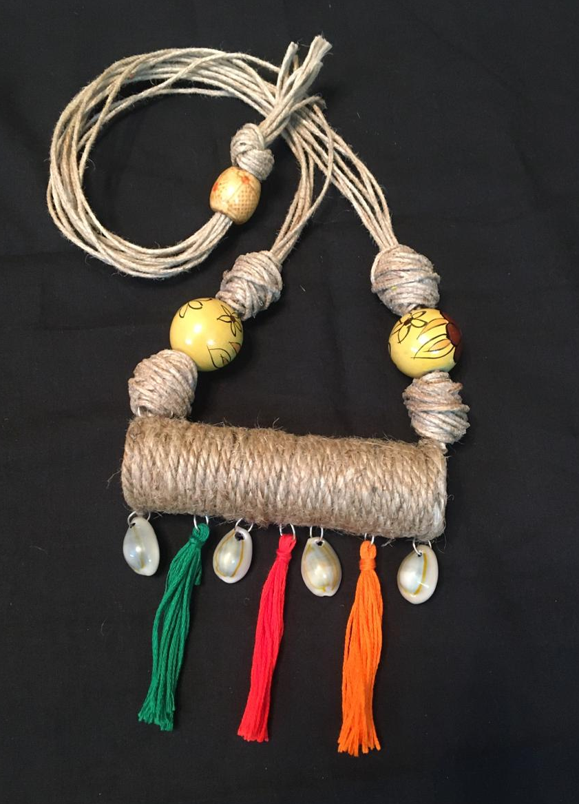 Jute Roller Neckpiece with Multi Colour tussels.