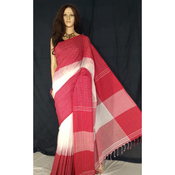 Handmade Fabric Ikkot Handloom Saree - Cherry Red