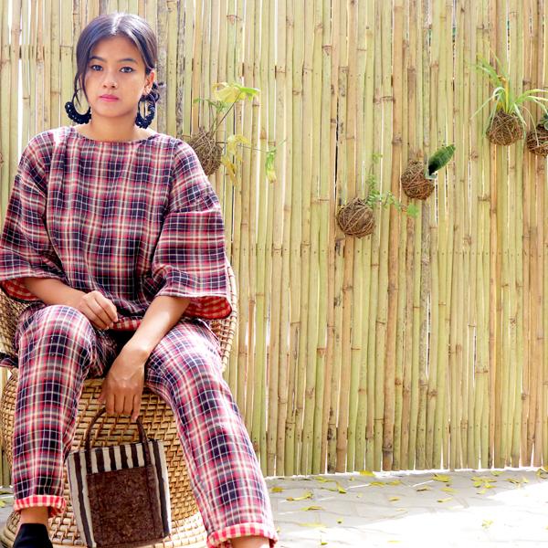 Kirgiti's ' Double Weave Organic Cotton Wine Checked Comfort Fit Top