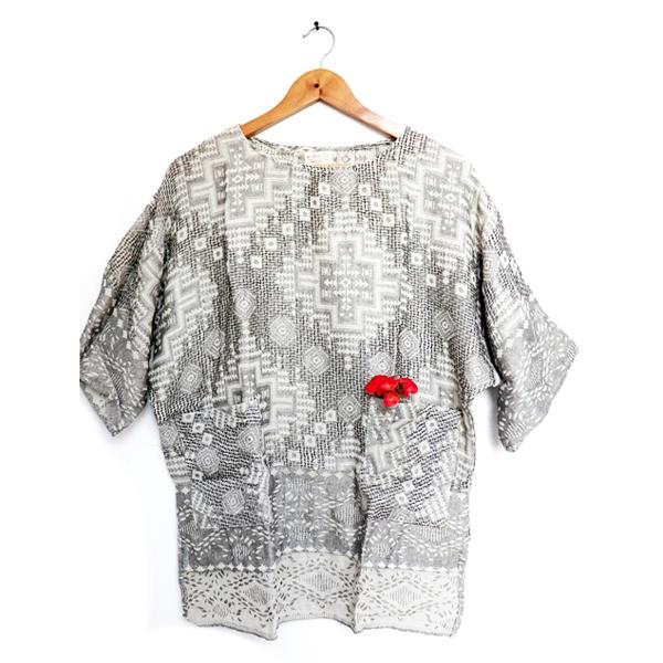 Kirgiti's ' Hand Woven Organic Cotton Off White Comfort Fit Top