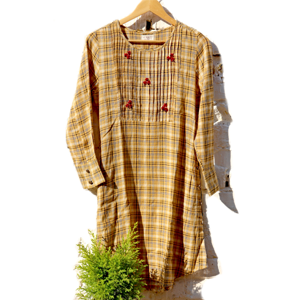 Kirgiti's Cotton and Hand Embroidered Mustard Checkered Button Style Tunic cum Dress