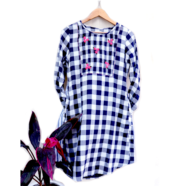 Kirgiti's Double Weave Organic Cotton and Hand Embroidered Navy Checked Button Style Tunic cum Dress
