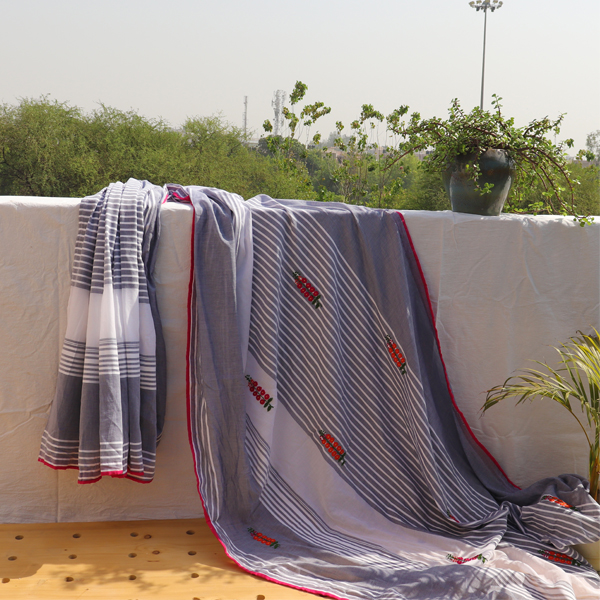 Kirgiti's Grey White Stripped Hand Embroidered Cotton Saree
