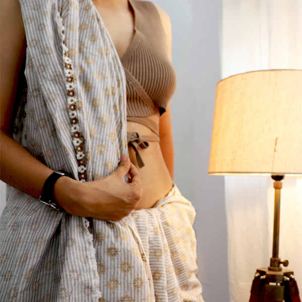 Kirgiti's Hand Block Printed Grey Stripes Chanderi Saree