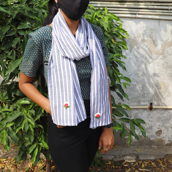 Kirgiti's Linen and Hand Embroidered Grey & White Stripes Stole