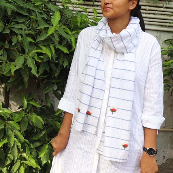 Kirgiti's Organic Cotton and Hand Embroidered White Stripes Stole