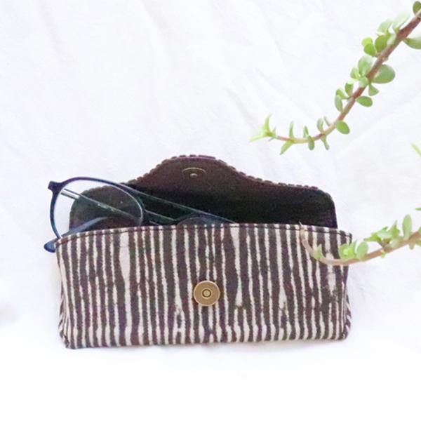 Kirgiti's Vegan Leather and  Dabu Print Canvas Brown Stripes 'Unisex' Specs Cover