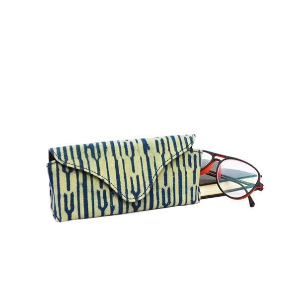 Kirgiti's Vegan Leather and Dabu Print Canvas Indigo Green 'Unisex' Specs Cover