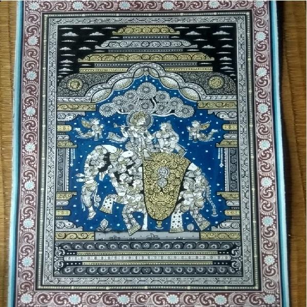 Krishna kanadharapa hati pattachitra painting