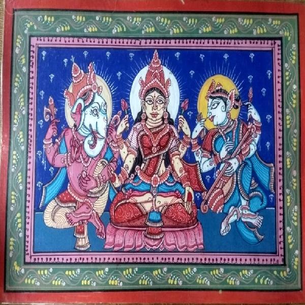 Lakshmi Ganesh Saraswati Pattachitra Painting