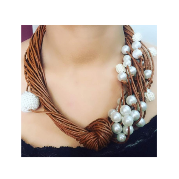 Leather string with pearl neckpiece