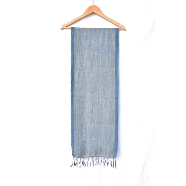 Linen Silk Scarf (Blue, grey & blue)