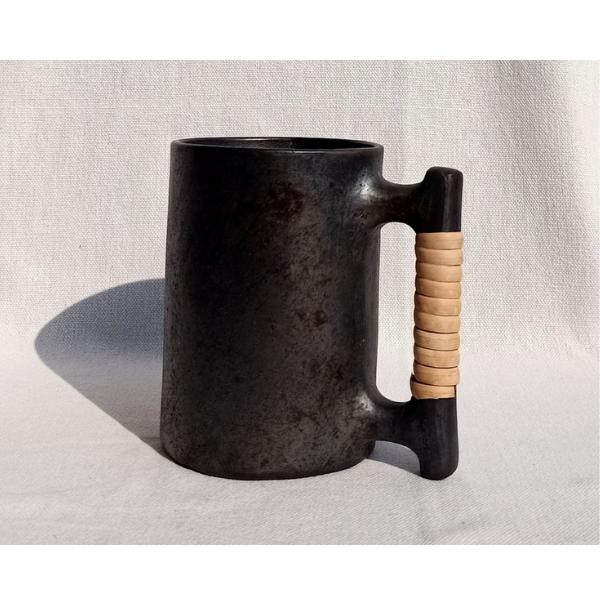 Longpi Black Pottery Beer Mug Large