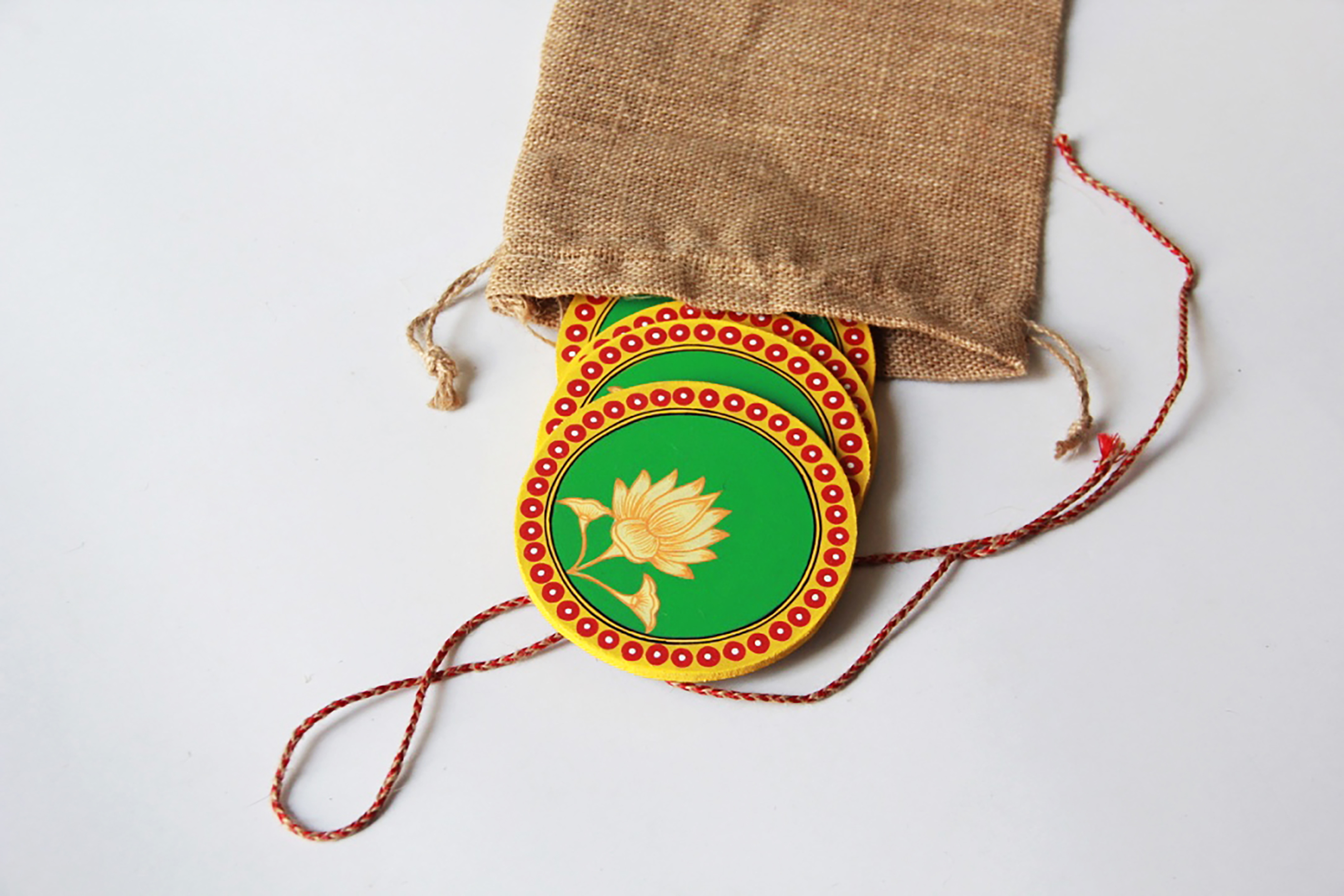 Lotus: Pattachitra Handmade Coaster (Set of 4)