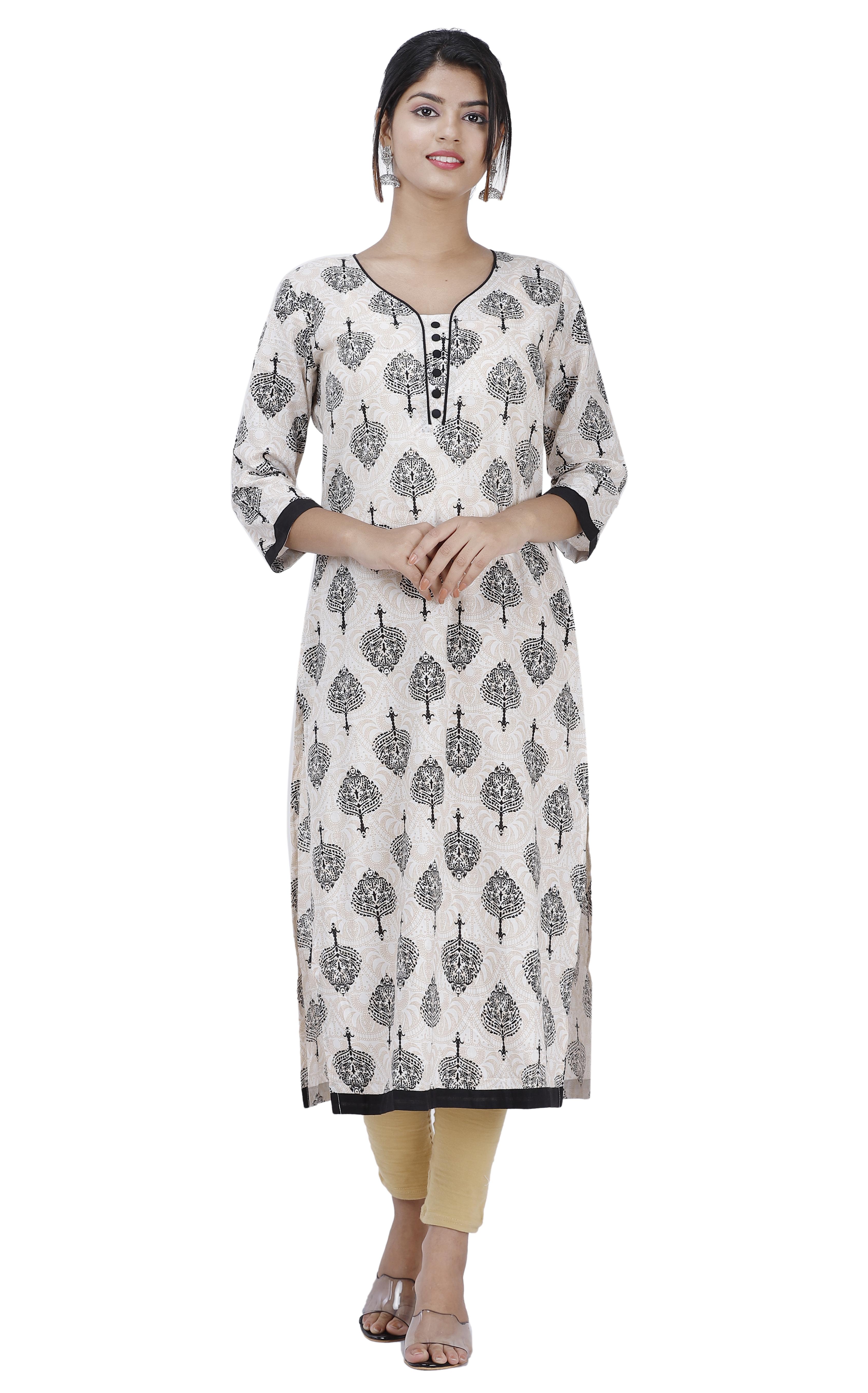 Maya Women Ethnic Wear Cotton Kurta Straight 3/4 Sleeve (Off-White & Black)